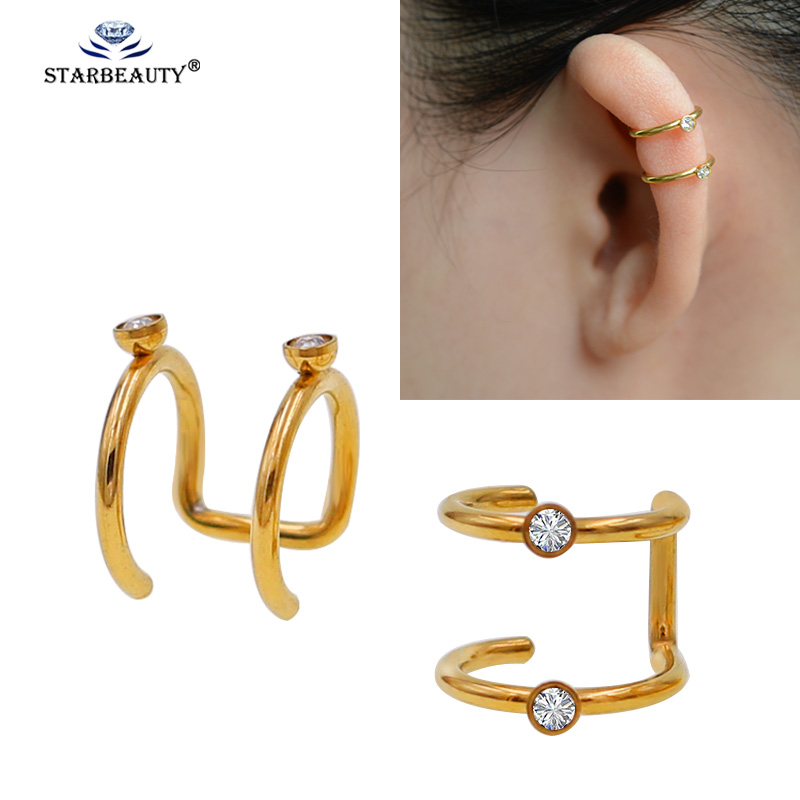 Body Jewelry 2pcs/lot Stainless Steel Double Hoop Non Piercing Closure Rings Fake No Piercing Ear Cuff Clip On Earring Tragus Cartilage