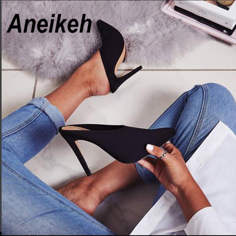 Aneikeh Summer 2019 Fashion Faux Suede Summer Slingback Mules Pointed Toe Med Heels Women Pumps High Thin Heels Party Sexy Shoes