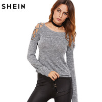 SheIn Womens Long Sleeve Tops Womens Clothing Autumn Casual Tee Shirt Grey Marled Crisscross Hollow Out