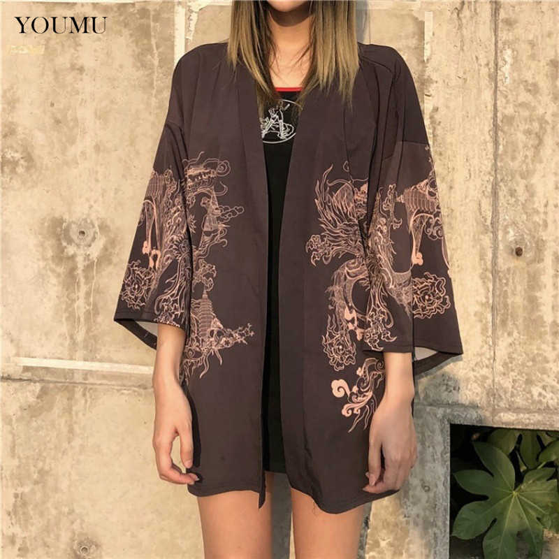 Harajuku Japanese Embroidered Dragon Kimono Cardigan Summer New Arrival Sun Protection Women's Clothing Retro Blouse 236-088