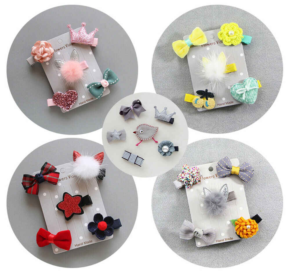 Newly 5Pcs Baby Girls Hair Clips Lovely Bow Hair Pin Children Headwear Princess Barrettes Hair Accessories Hot Sale