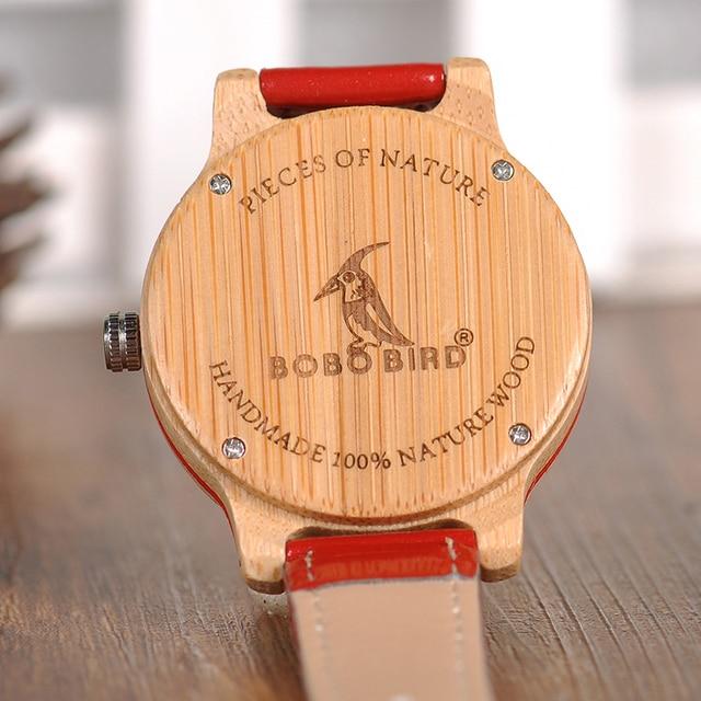 Reloj de madera bambú combinación color pulso cuero 3