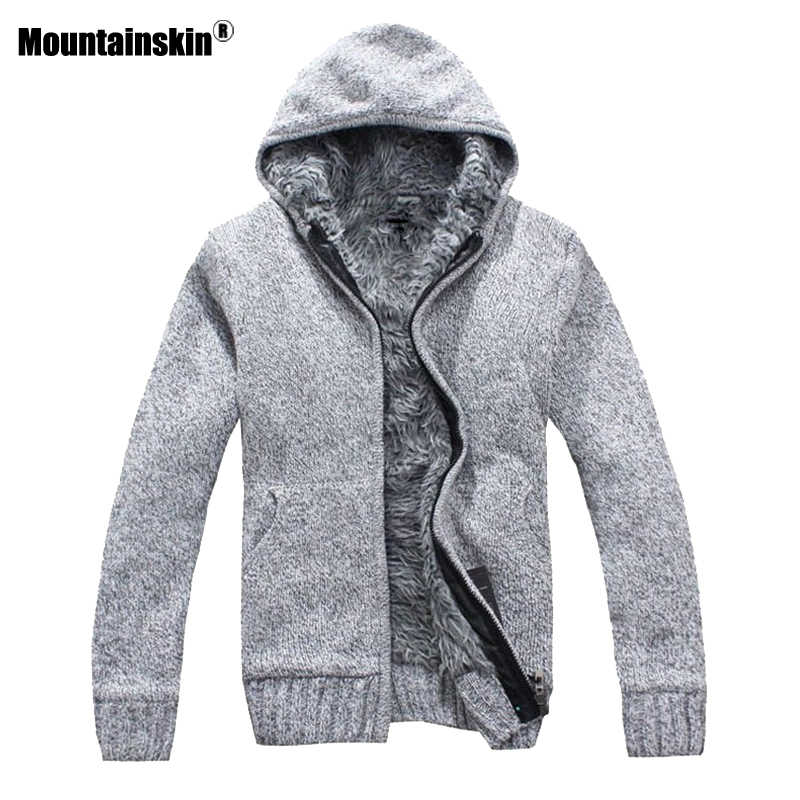 Mountainskin Autumn Winter Men's Thick Jackets Casual Warm Hoodies Fur Inside Outwear Mens Hooded Coat Thermal Sweatshirt SA505