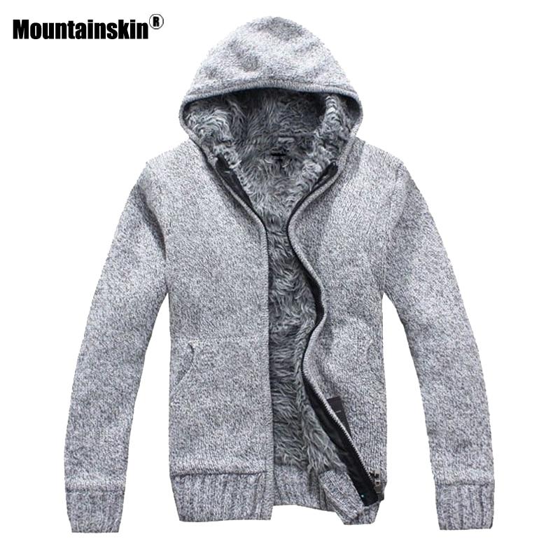 Mountainskin Automne Hiver hommes Épais Vestes Casual Chaud Hoodies De Fourrure À L'intérieur Outwear Hommes Manteau À Capuchon Thermique Sweat SA505