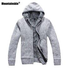 Mountainskin осень-зима Для мужчин; толстые куртки Повседневное теплые толстовки мехом внутри верхняя одежда Для мужчин s пальто с капюшоном Термальность Толстовка SA505