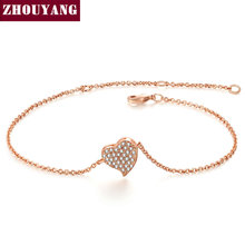 Top Quality ZYH188 Micro insert technology Heart Rose Gold Color Bracelet Jewelry Austrian Crystals Wholesale