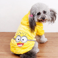 Hot Sale Cute Minions Clothes For Pet Dogs Autumn Cartoon Puppy Coat Sweatershirt Flannel Hoodies Winter