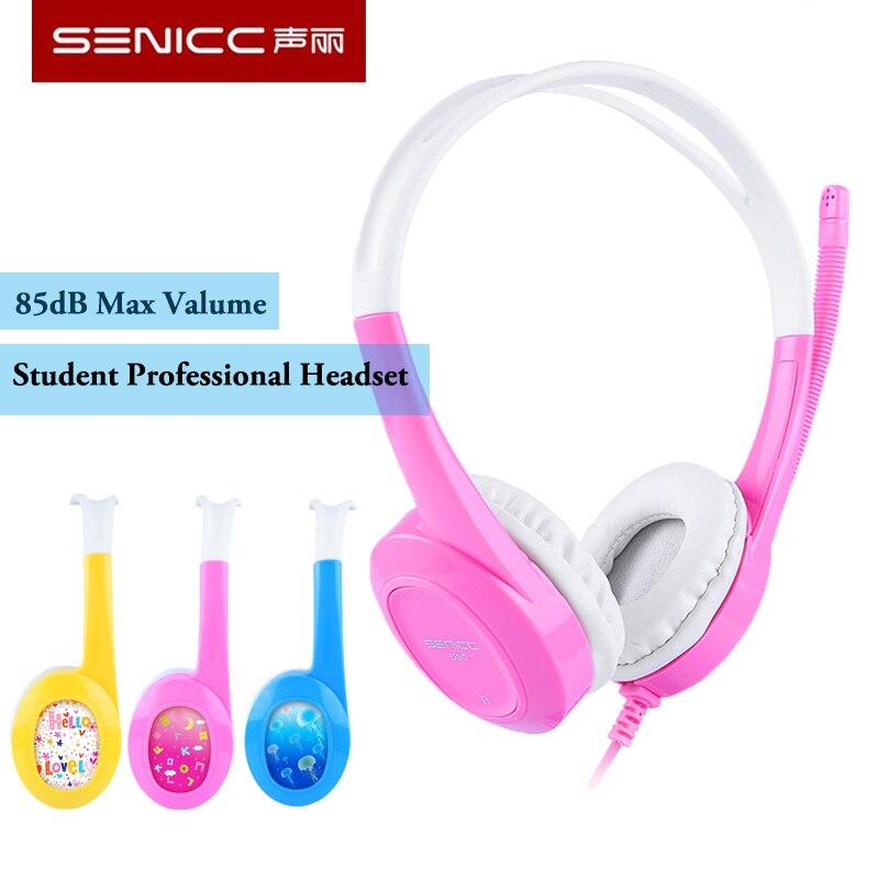SENICC D90 estudiante profesional auriculares 85dB Max Valume seguro con micrófono moda niños auriculares
