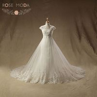 Rose Moda Vintage Lace Wedding Dress High Neck Short Sleeves Mermaid Wedding Dresses with Overskirt