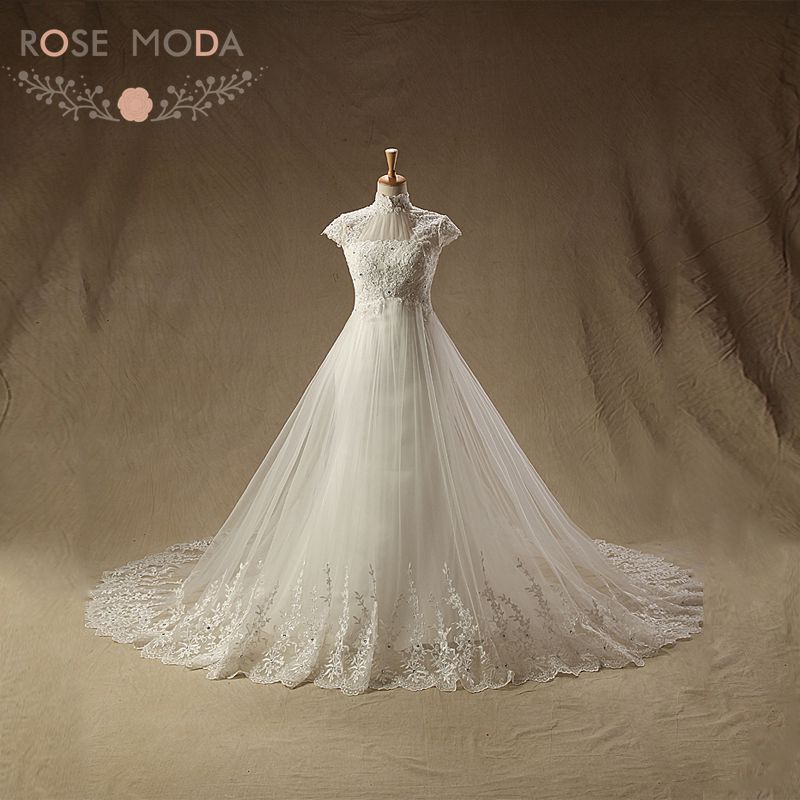 Tulle Overskirt Wedding Dresses Mermaid Bateau Neck Simple: Aliexpress.com : Buy Vintage High Neck Lace Mermaid
