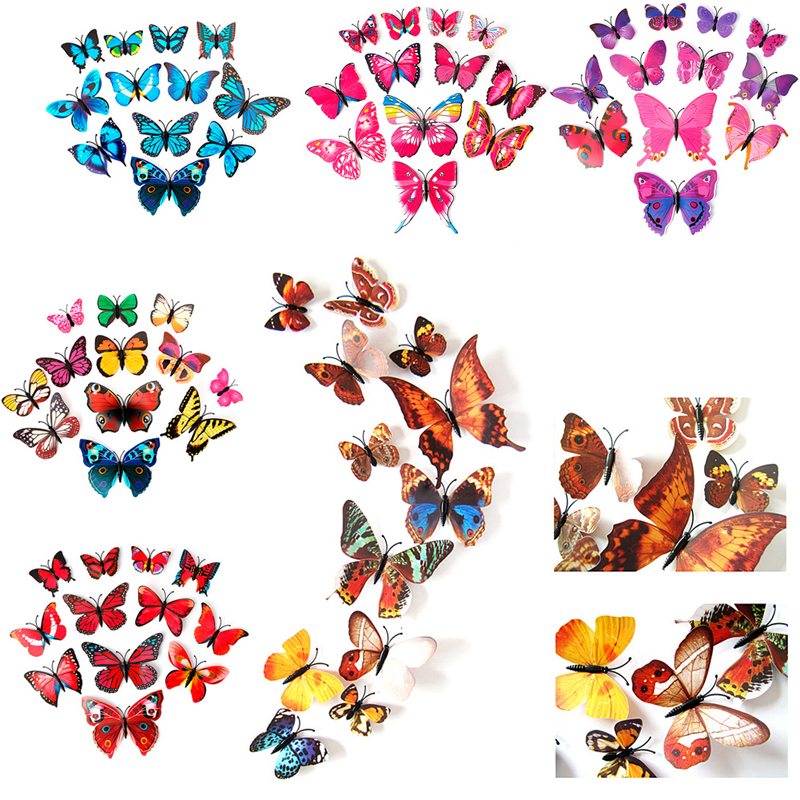 12 Pcs Home Decor DIY Wallpapers 3D Butterfly Sticker Wall Decal Decor Stickers Mural Art Decal