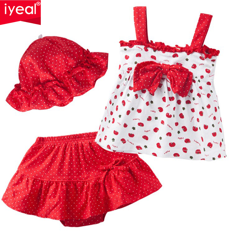 цены IYEAL New Summer Baby Girl Clothes Set Children Cotton T-shirt+Tutu pants+hat 3PCS Kid Infant Newborn Clothing Set For 0-2 years