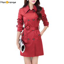 HanOrange 2017 Spring Autumn Plus Size Epaulet Button Women Long Trench Coat S M L XL 2XL 3XL Black/Red/Khaki