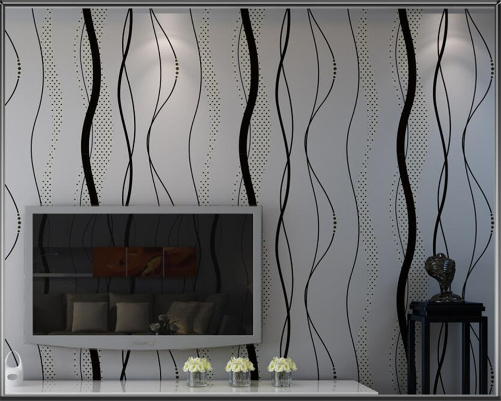 Beibehang Modern Simple Black Gray Wavy Wallpaper Vertical Striped Bedroom Living Room TV Background 3d Wallpaper for walls modern minimalist embossed silver gray non woven wavy wallpaper living room bedroom sofa background for walls striped wallpaper