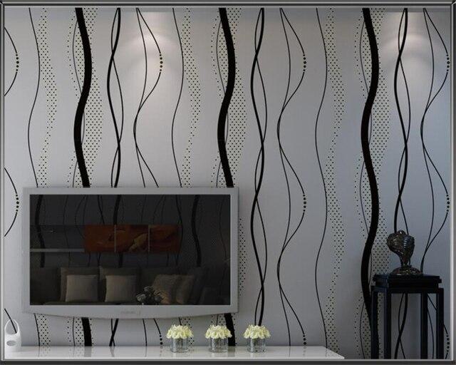 Camera A Righe Verticali : Beibehang moderna semplice nero grigio ondulato carta da parati a
