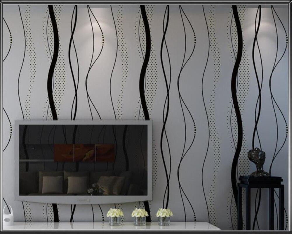 US $25.74 22% OFF|Beibehang Moderne Einfache Schwarz Grau Wellig Tapete  Vertikale Gestreiften Schlafzimmer Wohnzimmer TV Hintergrund 3d Tapete für  ...