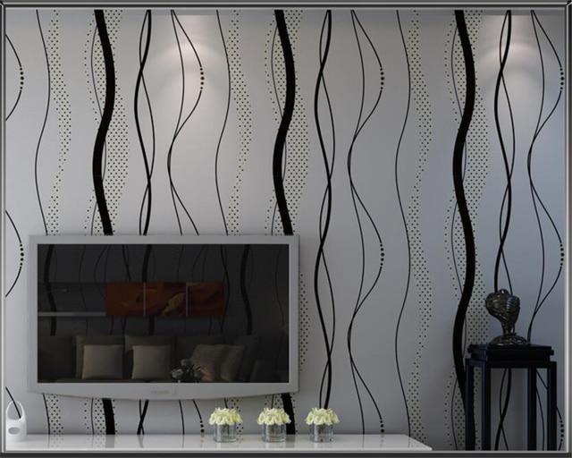Beibehang Moderne Simple Noir Gris Ondules Papier Peint Vertical