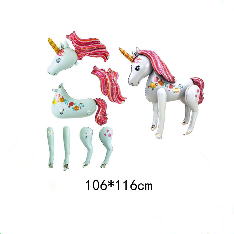 Image 5 - unicorn party big balloon stand 3d horse birthday party decorations kids cartoon animal unicorn birthday wedding balloons-in Ballons & Accessories from Home & Garden