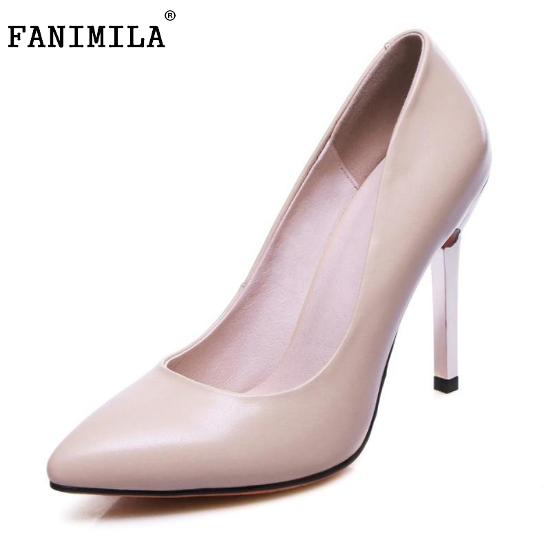 Women Real Leather High Heels Shoes Women Thin Heels Pumps Office Lady Pointed Toe Classics Sample Shoes Footwear Size 34-39 women real leather flats rivets pointed toe leisure classics ladies shoes comfortable fashion new design footwear size 34 39