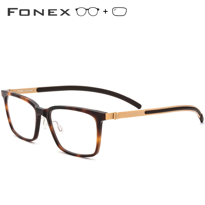 B Pure Titanium Prescription Glasses Men 2018 New High Quality Square Eyeglasses Acetate Myopia Optical Frames Screwless Eyewear