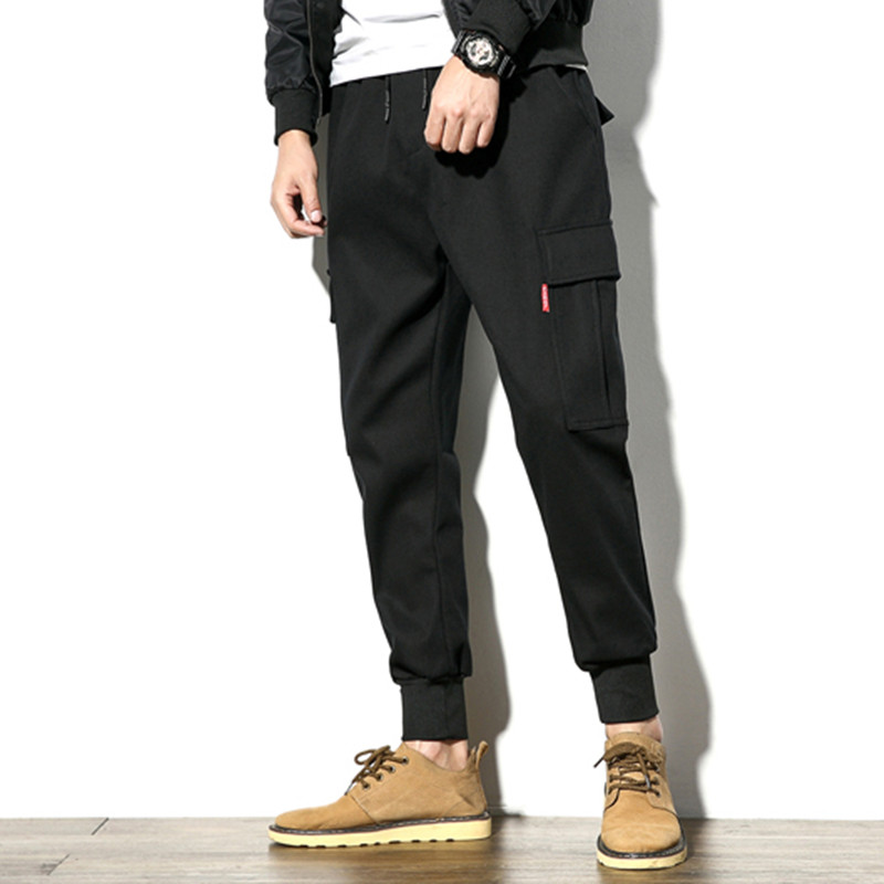 Casual Trousers Harem-Pants Joggers Streetwear Loose Japanese-Style Mult-Pockets Winter