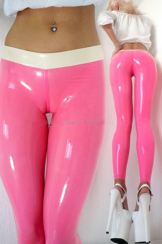 Handmade Latex   Leggings   Gummi 0.4mm Women Sex Pink Latex   Leggings   with White Trims