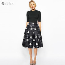 Qybian 2017 Spring Summer New women skirts Ladies Fashion Skull Print High Waist Knee-length Skirt Ball Gown women skirt Female