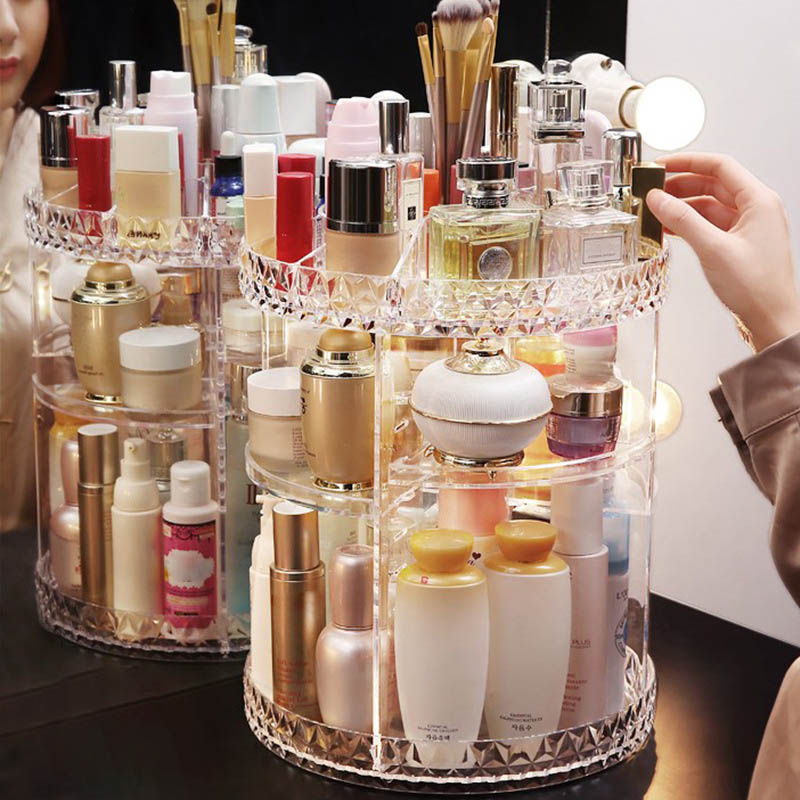 Rotating Acrylic Transparent Cosmetic Storage Box with Multi layer for Daily Use XHC88