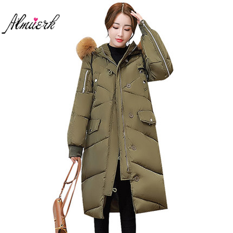 New Hooded Fur Parka Winter Down Cotton Coat Female Long Puffer Jacket Plus Size 2017 Slim Warm Outwear Woman Clothing YZ452 2015 new hot winter warm cold woman down jacket coat parkas outerwear luxury hooded splice long plus size 2xxl hit color slim