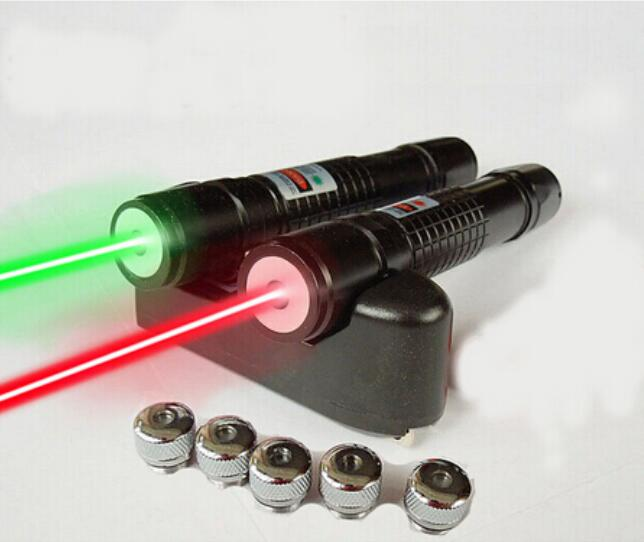 AAA 100000m 532nm Flashlight Powerful Light Green/Red Laser Pointers Burning Beam Match Burn Cigarettes+5 Lazer Heads Hunting
