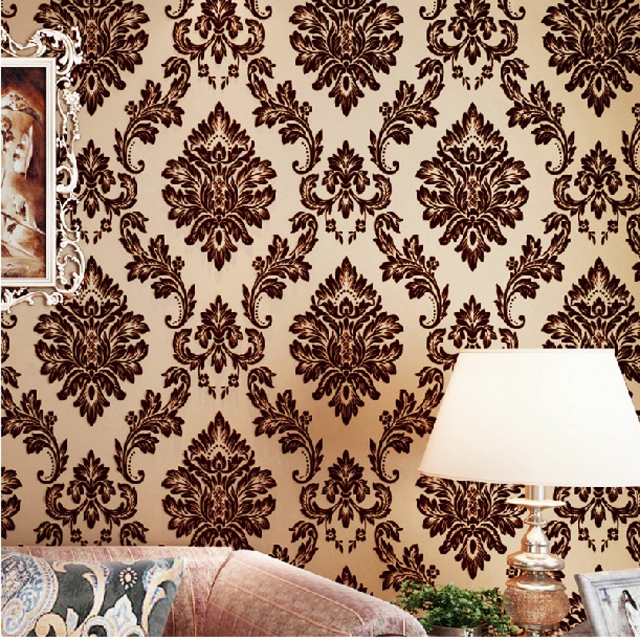 beibehang Luxury 3d wallpaper for walls 3 d mural papel de parede 3d flocking Velvet Gold wall paper roll wall papers home decor купить