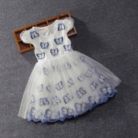 Summer Ball Gown Full Of Butterflies Princess Party Birthday Girl Dress With Sequins Bows 3 9T