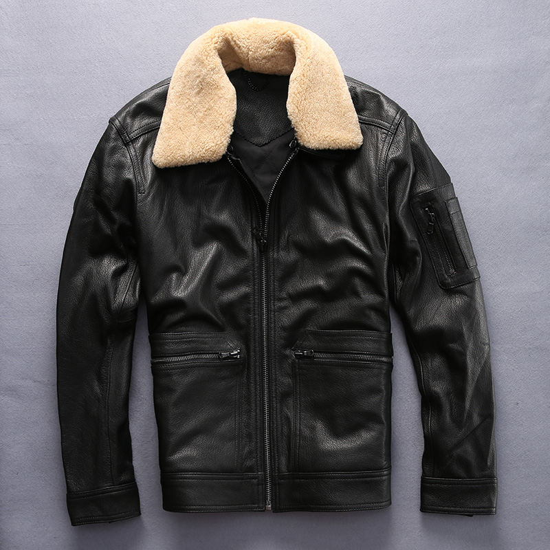 2017 New Men Black Real Sheepskin Pilot Leather Coat Wool Collar Plus Size XXXL Short Slim Fit Men Flight Jacket FREE SHIPPING