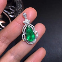 AIGS Fine Jewelry Certificate Real 18K White Gold AU750 Natural Green Emerald 3.68ct Gemstones Pendants for Women Fine Necklace fine jewelry collection real 18k white gold au750 100% natural bluetopaz gemstone brazil origin drop earrings for women