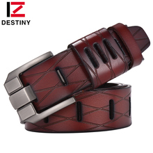 DESTINY Top Genuine Leather Belts Men Luxury Brand Designer High Quality Military Strap Male Wide Pin Buckle For Jeans Cowather