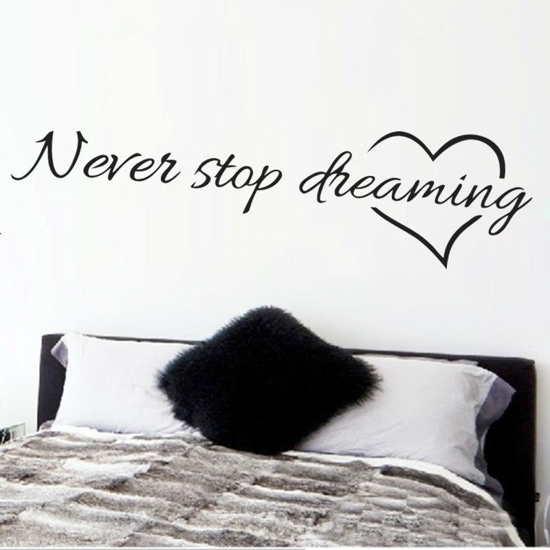 Ne cessez jamais de rêver citations inspirantes stickers décoratifs chambre art mural 8567. Bricolage maison décalcomanies art mural affiche papier vinyle