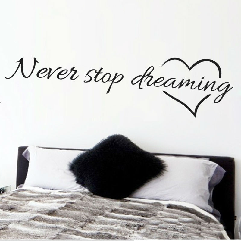 Never stop dreaming inspirational quotes wall art bedroom decorative stickers 8567. diy home decals mural art poster vinyl paper