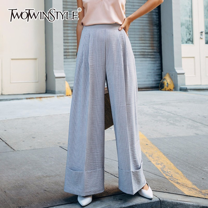 TWOTWINSTYLE Summer Casual Striped Trousers For Women High Waist   Wide     Leg     Pants   Female Loose Big Sizes Korean Fashion Clothing