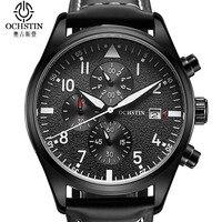 Leather Sport Watch Chronograph Quartz Watch Military Army Luxury Watch Men 2016 Male Clock Relogio Masculino