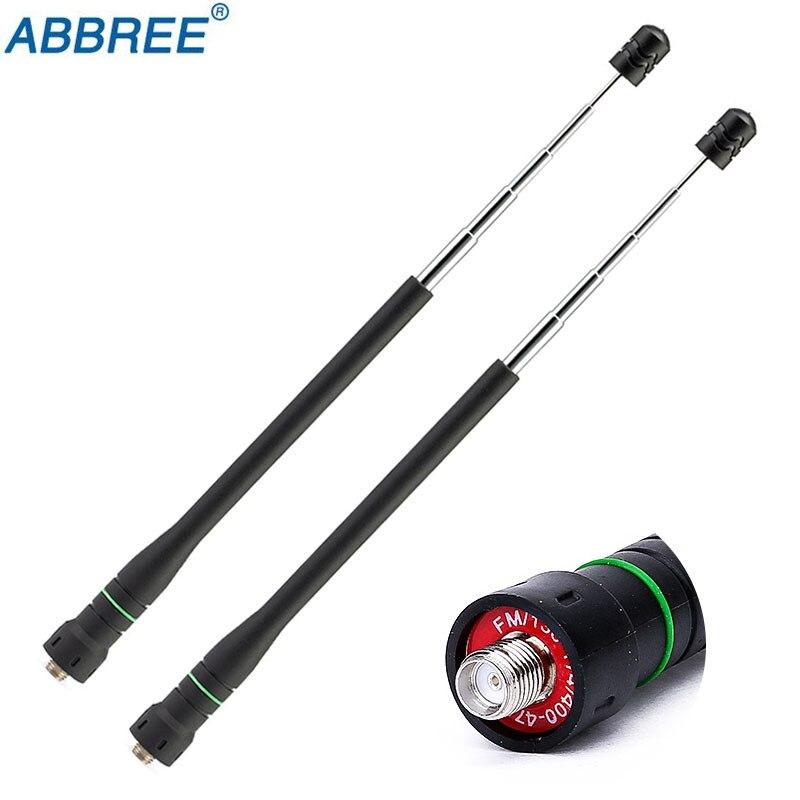 2PCS Abbree AR-775 Telescopic SMA-Female High Gain Dual Band Antenna For Baofeng UV-5R UV-82 UV-9R Plus Ham Walkie Talkie Radio
