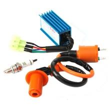 Новый Гонки Катушки Зажигания + Свечи Зажигания + CDI Коробка Для GY6 50cc-150cc 4-тактные Двигатели ATV