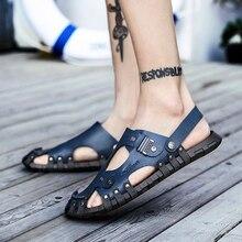 2019 Summer Shoes Men Sandals Large Size 38-47 Men Sandals Outdoor Fashion Casual Men Big Shoes Brown Leather Slippers все цены