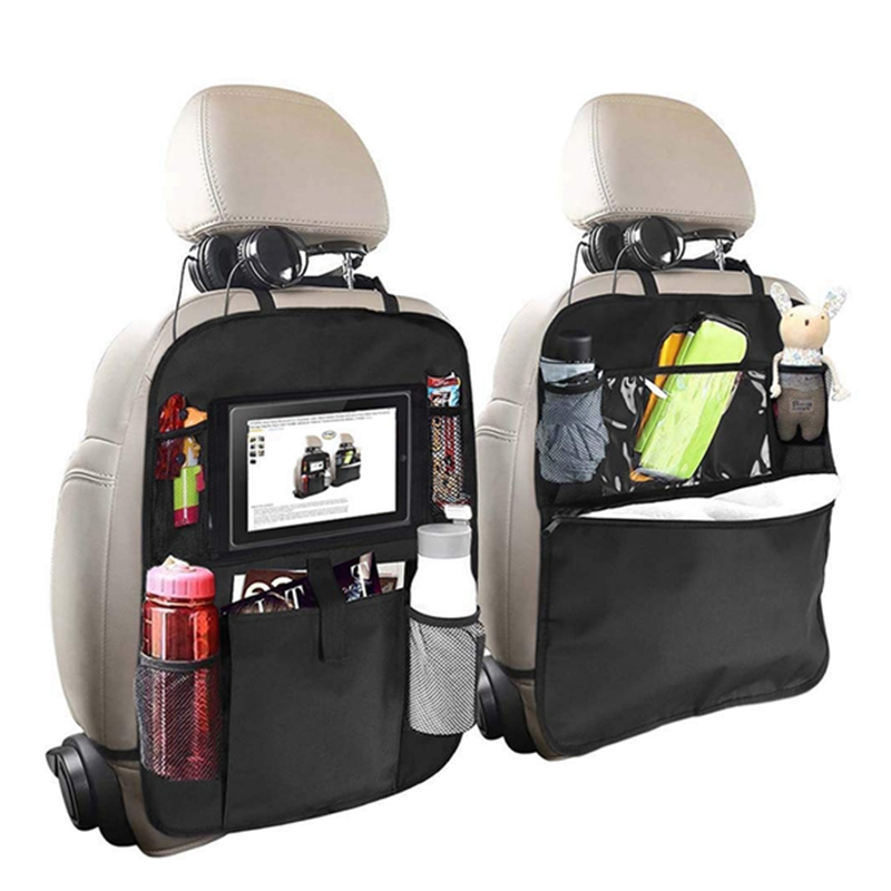 Backseat Organizer for Kids 2 Type A+B Kick Mats Back Seat Car Protector with Multi Pocket Storage Bag Holder for iPad Table