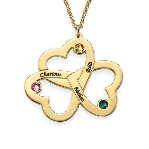 Personnalisé Triple coeur-collier bijoux nom collier personnalisé fleur style maman cadeau enfants noms en argent sterling