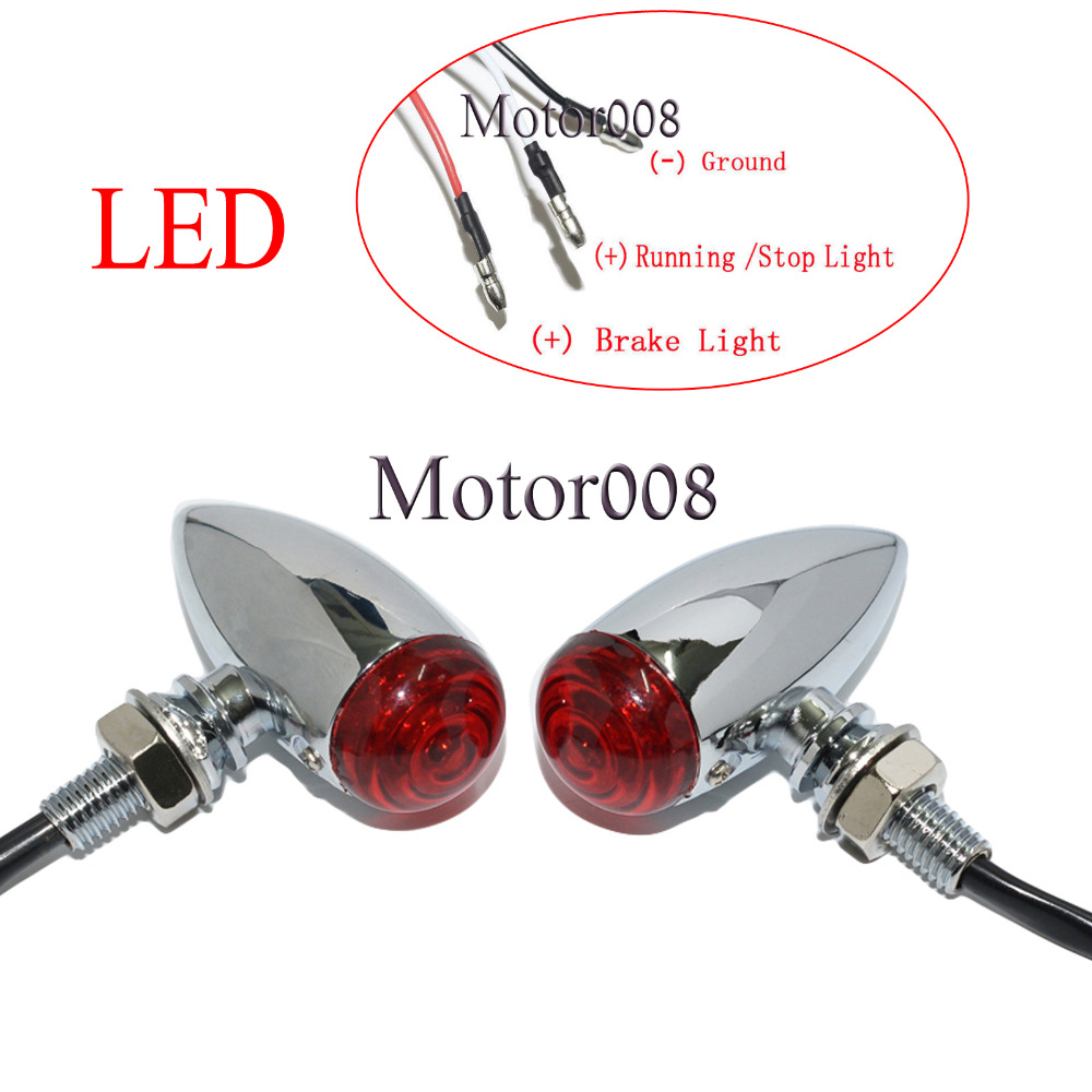 A Mini Chopper Turn Signal Wiring Tsb Diagrams Motorcycle Diagram Red Led 3 Wires Chrome Bullet Running Lights For Harley Sportster Dyna