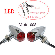 Motorcycle Red LED 3 Wires Chrome Bullet Mini Turn Signal Running lights For Harley Sportster Dyna Softail Bobber Chopper