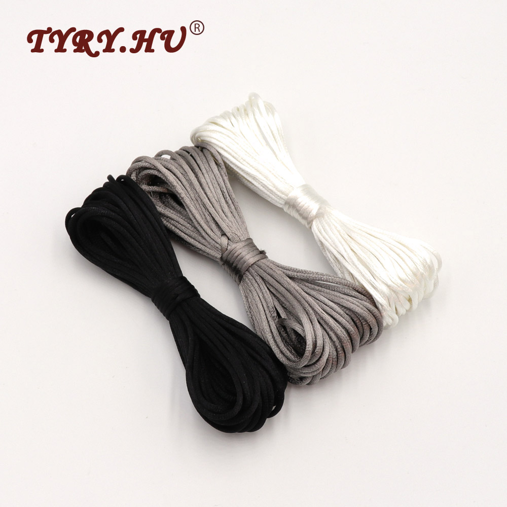 TYRY.HU 50 Meters Satin Silk Rope Nylon Cord For Jewelry Making Baby Teething Necklace Rattail Cord Pacifier Chain Accessories