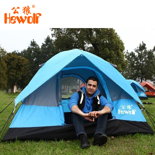 Hewolf tourist tent 3 - 4 person camping tents Double layer waterproof outdoor hunting Beach tents garden tent gazebo