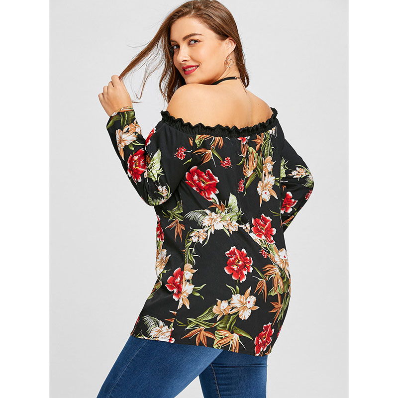 CR Off Shoulder Blouse Women Top 2018 Fashion Slash neck Sexy Long Sleeve Floral Printed Shirt Tops Female Plus Size