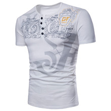 Short-sleeved European code mens personality esports letter printing short-sleeved round neck button large size S-XXXLT-shirt